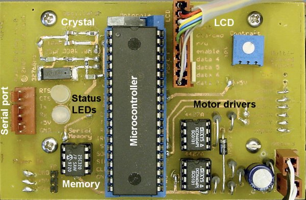 Microcontroller main circuit board with motor drivers.
