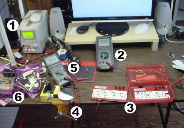 Test equipment set up to measure the performance of an electronic H-bridge and DC motor.