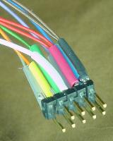 Keyed connector with color-coded wires and heat-shrink tubing