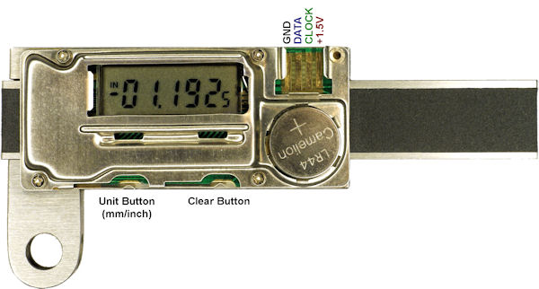 Industrial digital indicator showing data port pinouts and buttons