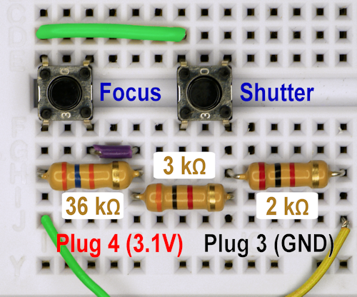 Panasonic GH1 camera remote trigger control circuit on a solderless breadboard