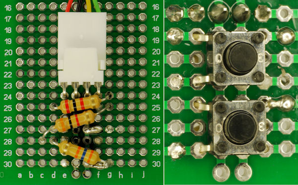 Remote shutter trigger control soldered on perf board