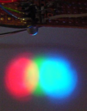 Red, green, and blue light emitted from a single multicolor LED.