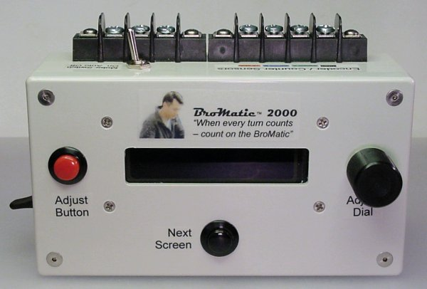 Front view of the BroMatic 2000 electronic counter showing the pushbuttons and dial.