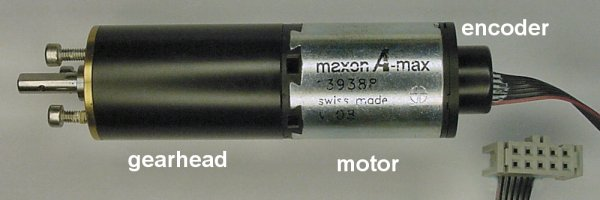 A Maxon A-max motor with gearhead and encoder.