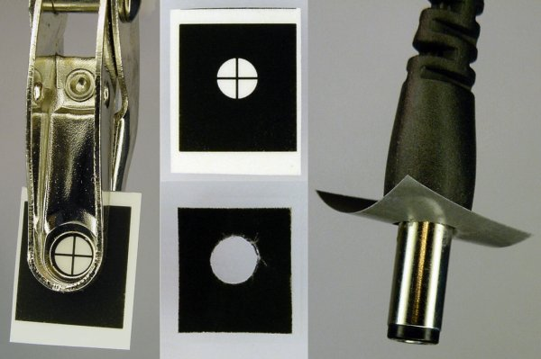 Left: A hole punch makes a nearly clean hole in a clear adhesive sticker. Right: The sticker is applied using the power plug as an alignment tool.