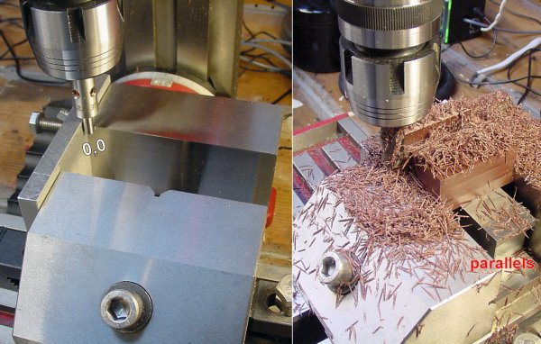 Left: DRO on milling machine is zeroed by using an indicator with a light. Right: The workpiece sits on parallel blocks to obtain the necessary height to machine without hitting the vise.