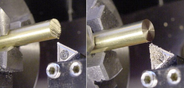 Cleaning up the end of a hacksaw-cut brass rod by facing it on a lathe.