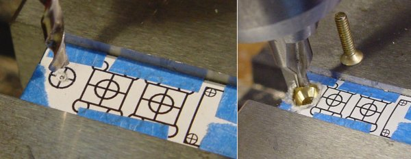 The screw hole positions are located by barely touching the paper template to determine if the bit is aligned with the printed crosshairs.