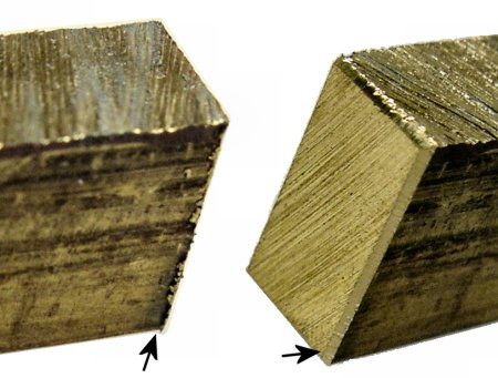 Left: Corner burrs prevent stock from lying flat in a milling vise. Right: Grind or file the corners before milling.
