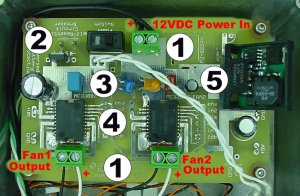Circuit board inside of the fan controller showing safety features, MC33887DH motor fan driver, and PT5101N 5V switch regulator.