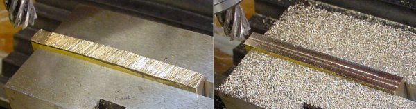 A milling machine removes the jagged top from the brass workpiece.