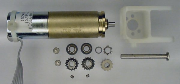 Gearmotor and right-angle parts.