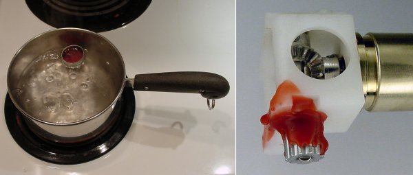 Melting wax on a stove to get an impression of the setscrew hex key size.