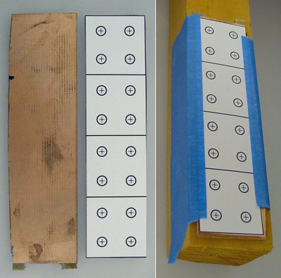 Copper-clad board and template taped to wood.