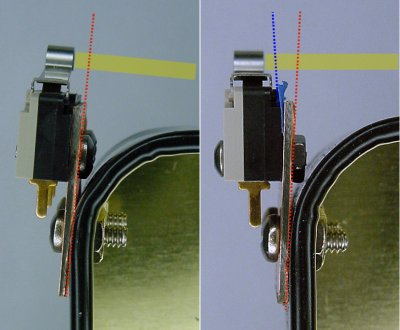 Correcting switch angle with a masking tape shim.