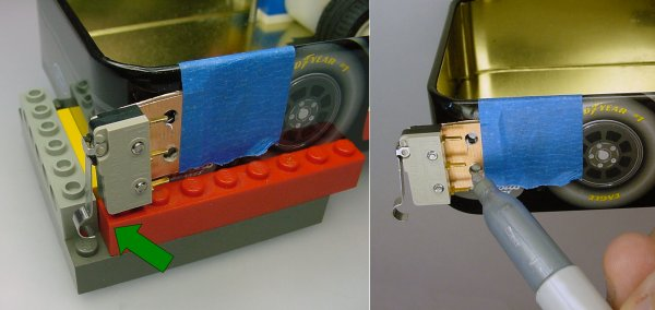 Lego fixture to mark holes for bumper switch.
