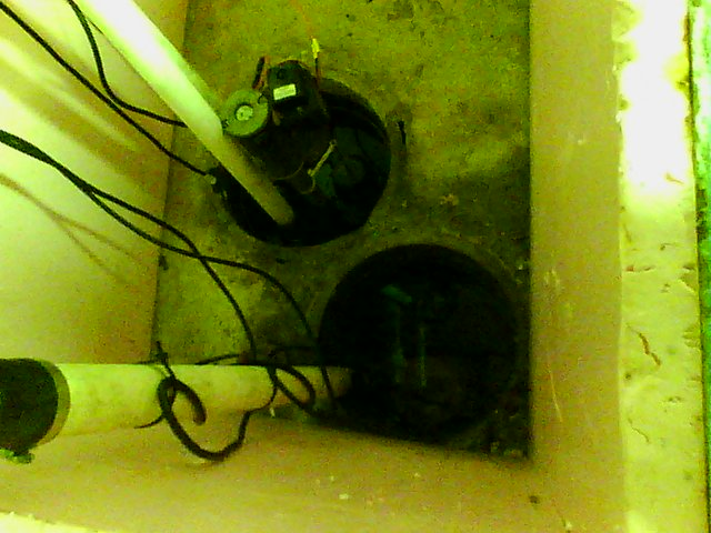 Sump pump visible