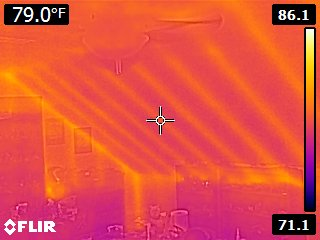 Wood beams in sloped ceiling infrared
