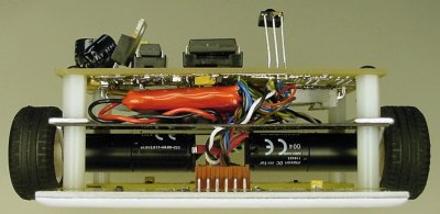 Front view of Jet, the line-following robot, showing the battery and motors