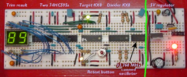 A solderless breadboard containing a known clock source, divider, LED display, and target KX8 to be trimmed. Click to see a movie of the target KX8 trimming itself.