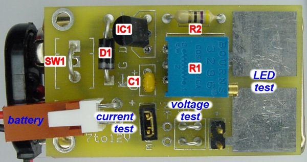 LED tester PCB labeled with component identifiers.