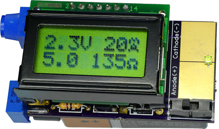 Display showing LED voltage current and recommended resistor