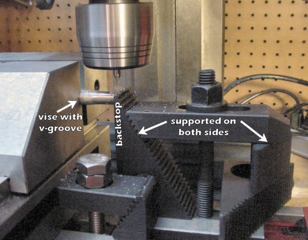 A milling vise with a v-groove holds a rod on the milling machine. A workpiece stop made from a clamping set (step blocks, a holddown bar, stud, tee nut, and flange nut).