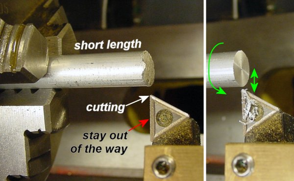 Smoothing the rough end of a metal rod by facing it in a lathe.