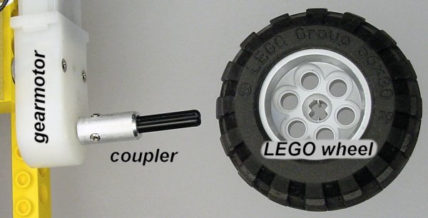 A Solarbotics gearhead motor connects through a machined metal coupler to a Lego wheel.