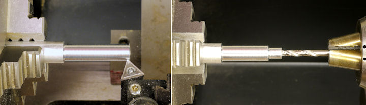 Reducing diameter and drilling center of a rod on a lathe