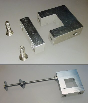 Baluster clamp with bolt and washers to connect to a flat board