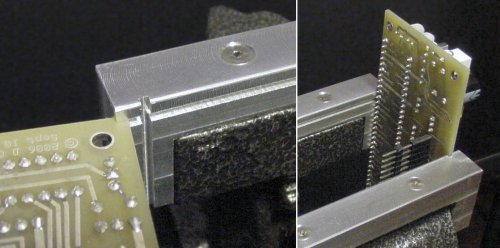 Horizontal and vertical grooves in aluminum vise jaws firmly hold a printed circuit board