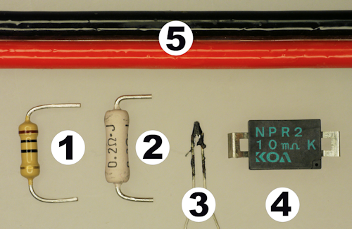 Examples of low resistance parts such as resistors cable and igniters