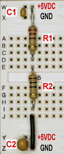 Low resistance measurement circuit on a solderless breadboard