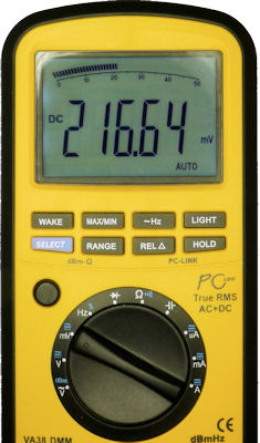 Multimeter in millivolt measurement mode