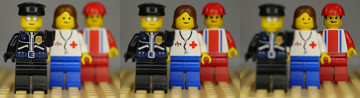 Example of depth of field with Lego minifigs