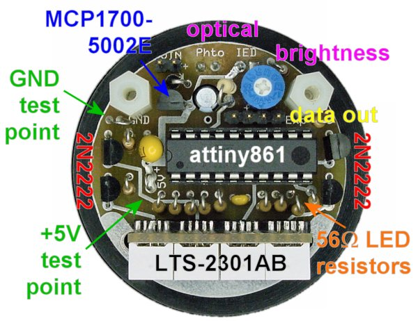 Tachometer circuit board featuring an Atmel ATTiny861 microcontroller.