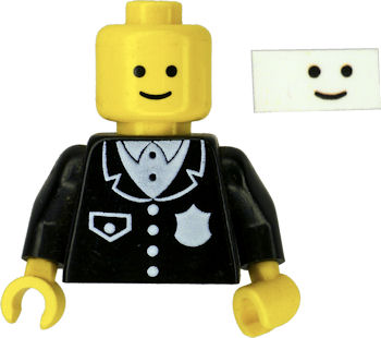 Lego minifig smiley face reproduced on transparent laser printer sticker