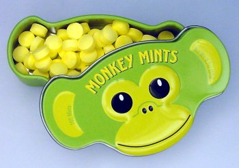 Monkey mints candy container.