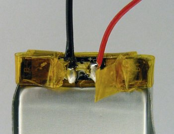 Ultralife lithium-polymer cell with replacement wires soldered on.