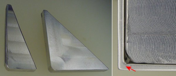 Scrap aluminum braces are machined square with a rounded corner to fit into an angle bracket. Right: Notice the bulge in the bend?