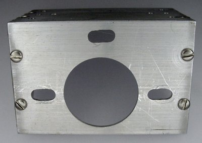 A large hole for a motor in a finished angle bracket.