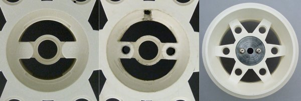 Left: Original center of LEGO wheel hub. Middle: Drilled and tap two screw holes with another hole vertically. Right: Aluminum coupler screwed into the center.
