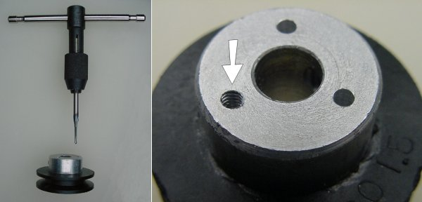 Using a #4-40 tap to thread a hole in the pulley.