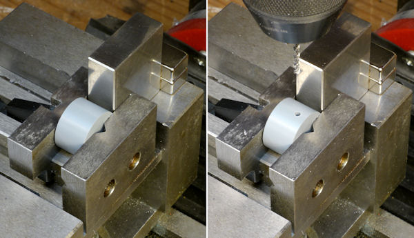 Drilling setscrew through center of cylinder positioned by magnet fixture