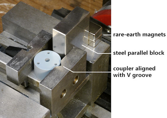 Magnets and steel block position when coupler centered in V block