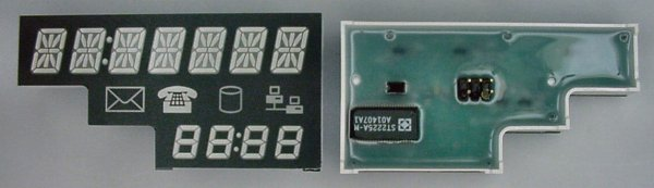 Left: The front of the Lite-On LTM-Y2K19JF-03 multifunction display showing the digits and icons. Right: The ST2225A-M LED driver chip and 5-pin connector.