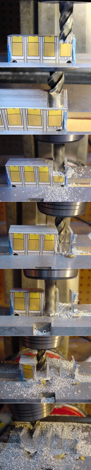 Cutting an aluminum tined comb on a miniature milling machine for aligning arms on a combat robot.