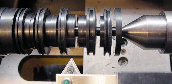 Machining hubs from inch ABS rod on lathe